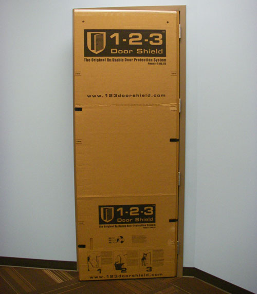 ... Re-usable jobsite door protection that saves time money and aggravation! & 1-2-3 Door Shield | Re-Usable Door Protector u0026 Construction Protection pezcame.com